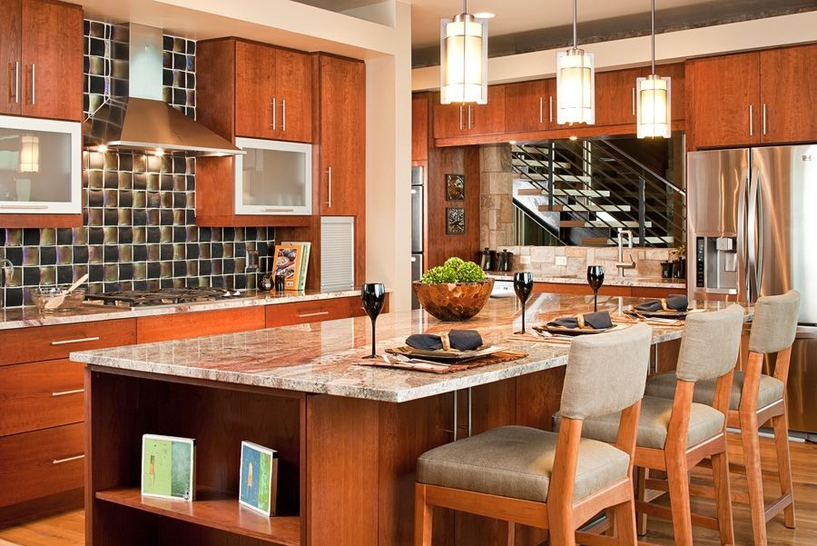 Contemporary Kitchen with Cherry stain finish, arizona tile, BETULARIE, Granite