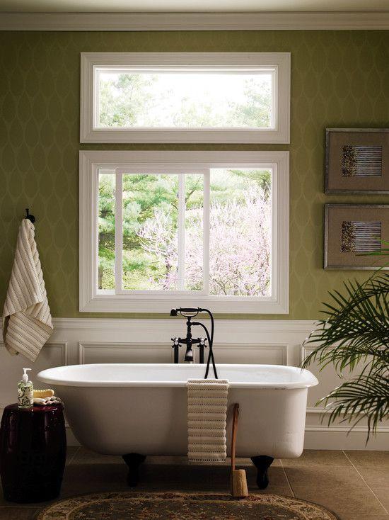 Traditional Master Bathroom with Clawfoot, High ceiling, Master bathroom, Area rug, Transom window, sliding window, Bathtub