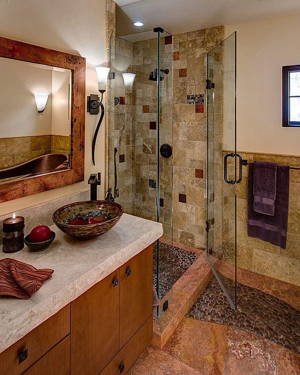 Rustic 3/4 Bathroom with Vigo Glass Vessel Bathroom Sink and Blackstonian Faucet Set, Rain shower, Paint 1, Flush, can lights
