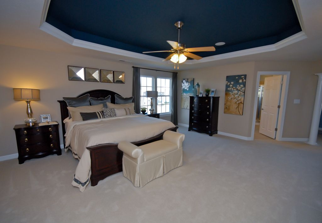Traditional Master Bedroom with Columns, six panel door, Standard height, Crown molding, Carpet, double-hung window, Paint