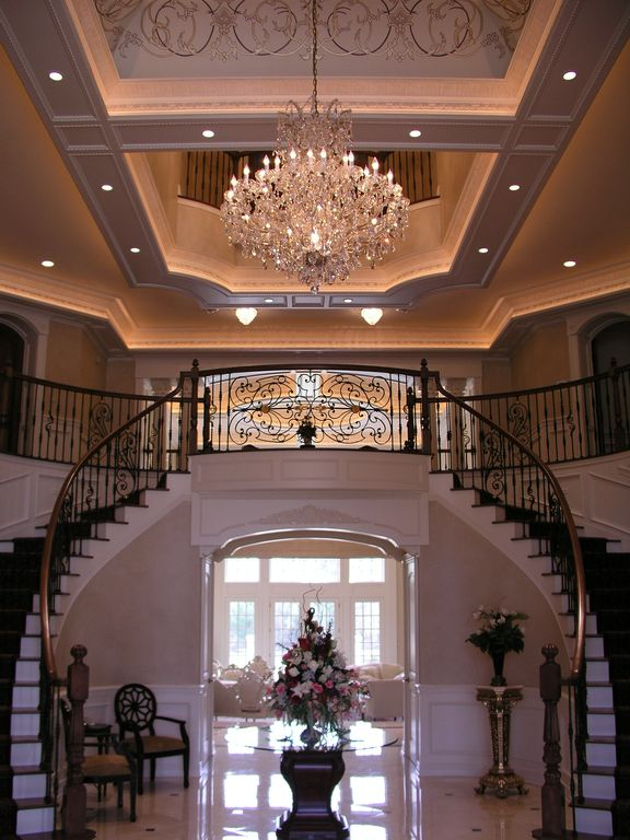 Traditional Entryway with Cathedral ceiling, Crystorama Imperial Chrome 12-light Crystal Chandelier, can lights, Loft