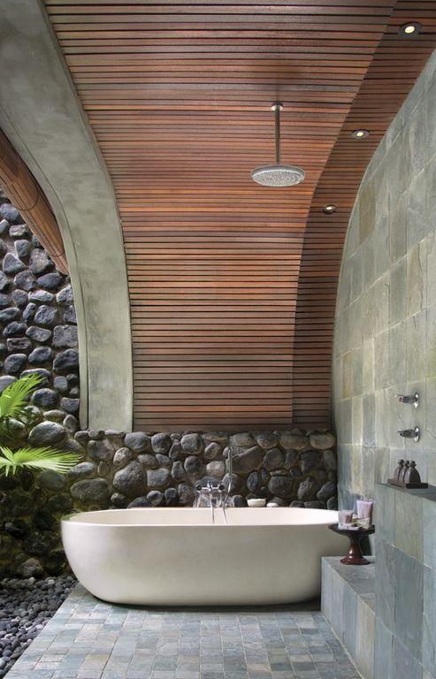 Contemporary Master Bathroom with Rain shower, High ceiling, can lights, Freestanding, Master bathroom, stone tile floors