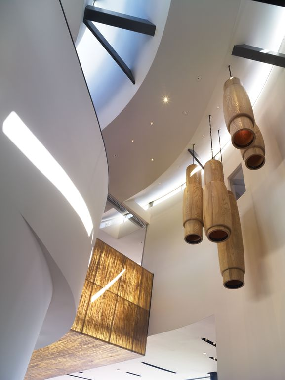 Contemporary Hallway with Exposed beam, can lights, picture window, Pendant light, High ceiling