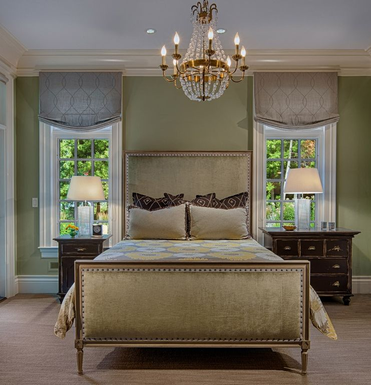Traditional Master Bedroom with Chandelier, Casement, Anya floral print 3-piece quilt set - overstock.com, Carpet, can lights