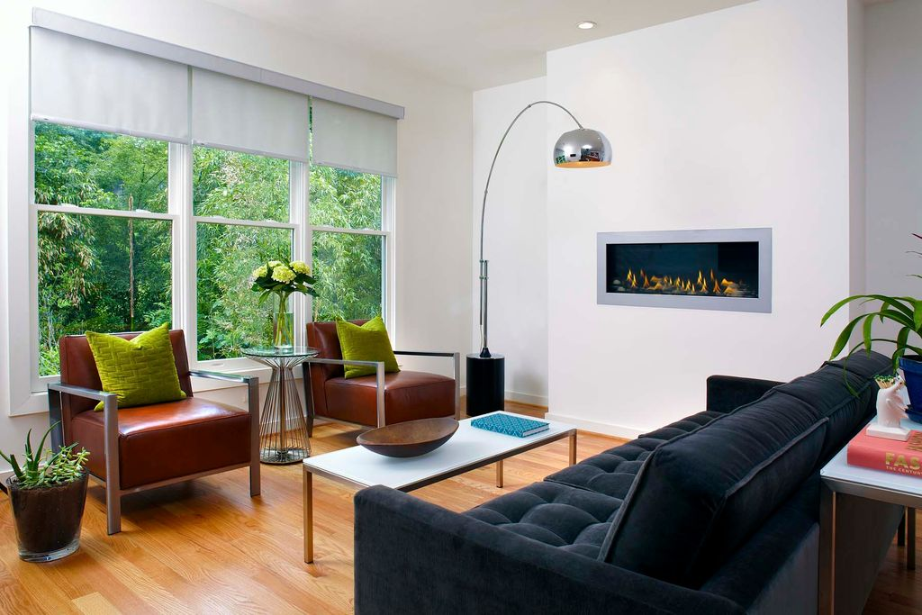 Contemporary Living Room with Fireplace, insert fireplace, Platner side table, Standard height, double-hung window, Paint