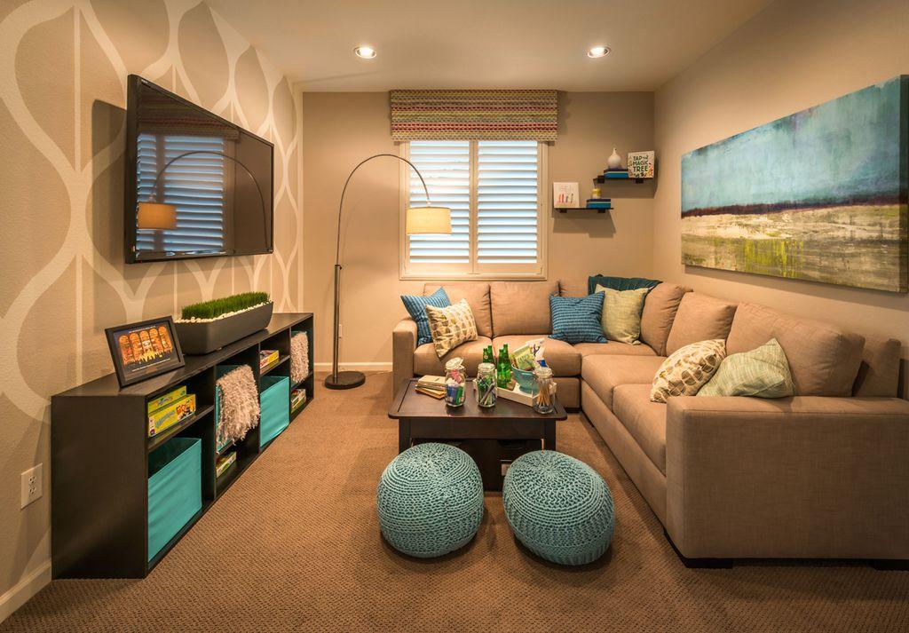 Contemporary Living Room With Interior Wallpaper Carpet