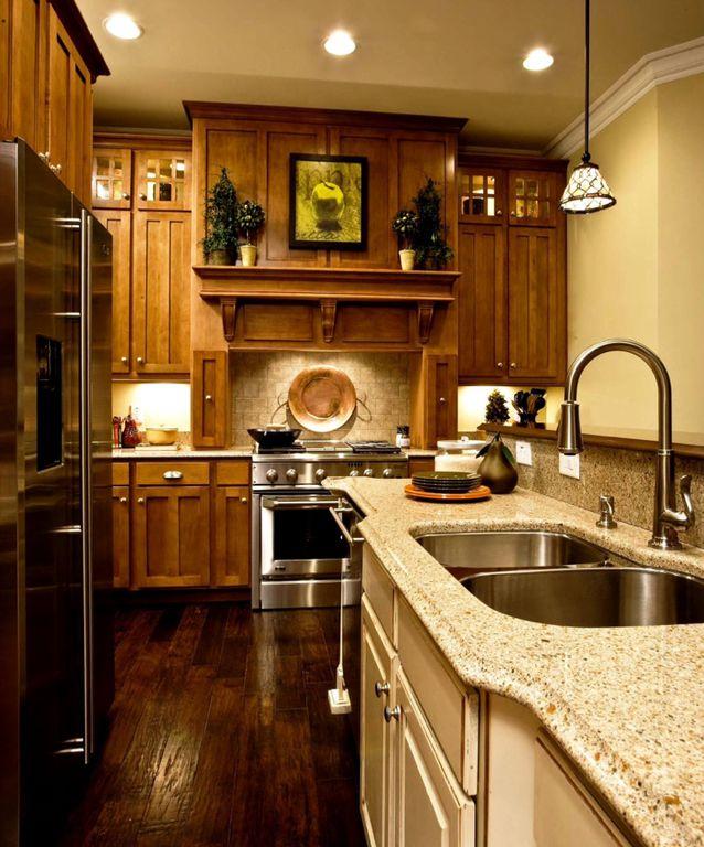 Craftsman Kitchen with can lights, Standard height, full backsplash, Stone Tile, L-shaped, Simple Granite, Limestone Tile