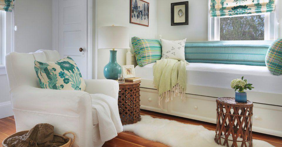 Contemporary Guest Bedroom with Casement, Hardwood floors, Standard height, specialty door
