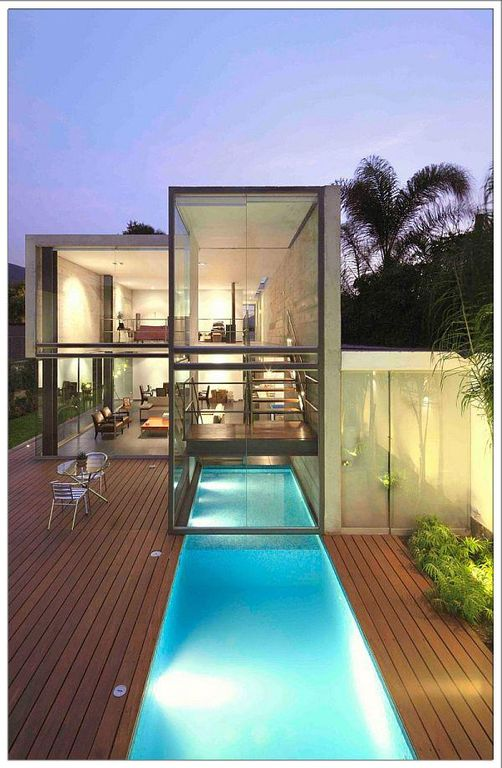 Contemporary Swimming Pool with Fence, Lap pool
