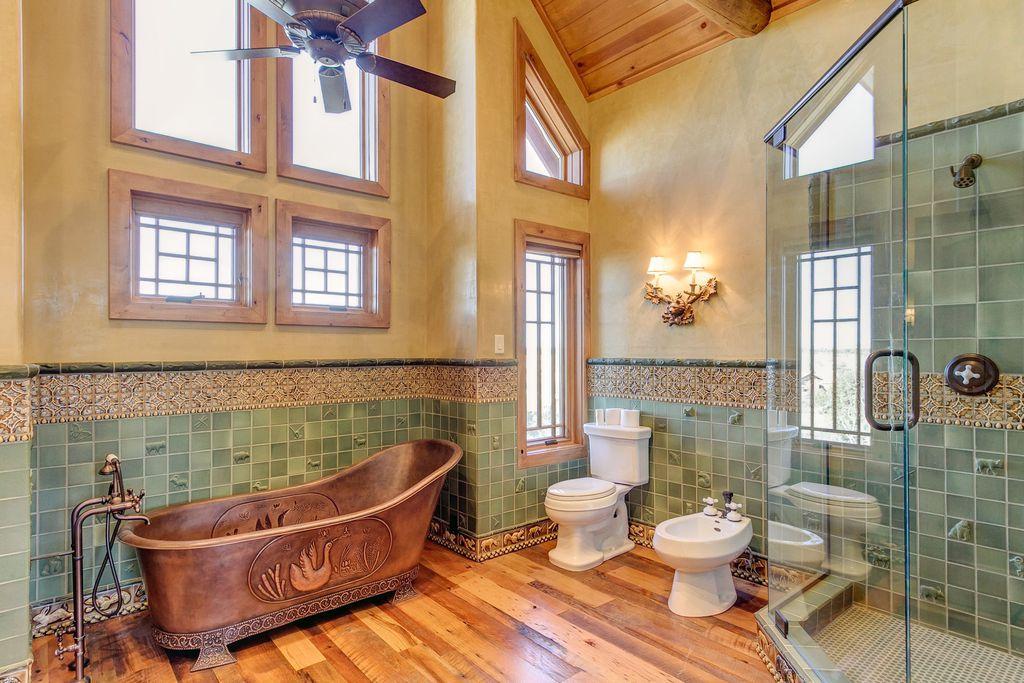 Craftsman Master Bathroom with Paint 1, Wall tile, animal art, decorative tile, Hardwood floors, Exposed beam, Casement