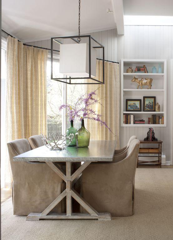 Contemporary Dining Room with Carpet, Standard height, sliding glass door, flush light, Exposed beam, Built-in bookshelf