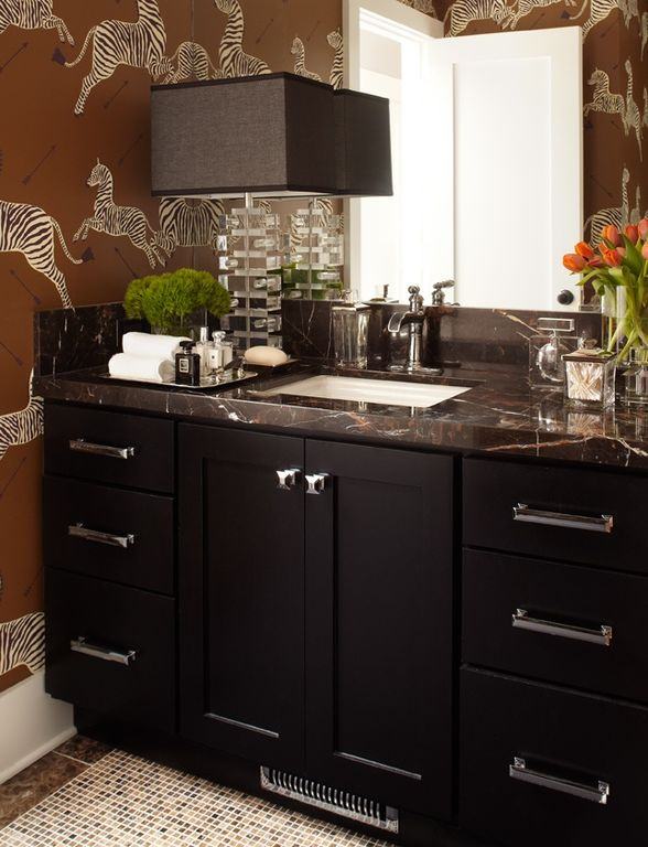 Contemporary Powder Room with European Cabinets, Complex Marble, ceramic tile floors, specialty door, stone tile floors