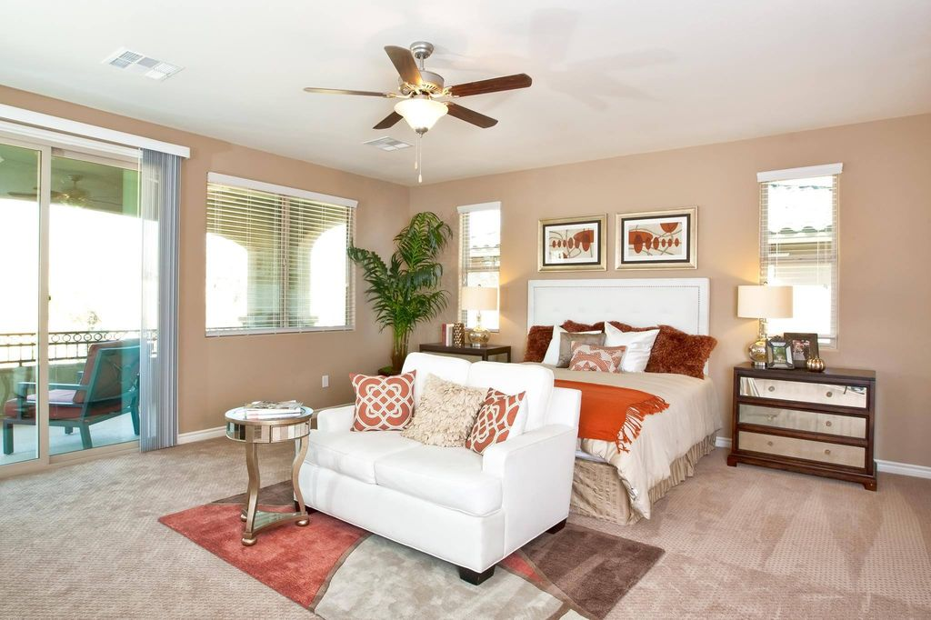 Contemporary Master Bedroom with Standard height, Casement, sliding glass door, Carpet, Ceiling fan, double-hung window