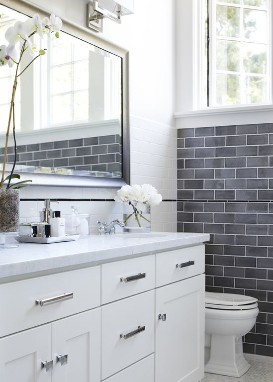 Contemporary Full Bathroom with Inset cabinets, Simple marble counters, Flat panel cabinets, ceramic tile floors, Wall Tiles