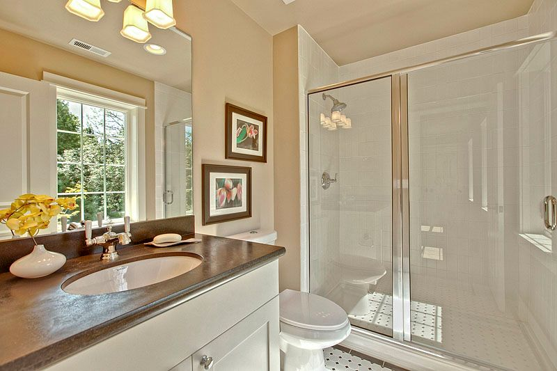 Traditional 3/4 Bathroom with Flush, Limestone counters, three quarter bath, Casement, High ceiling, can lights, Paint 1