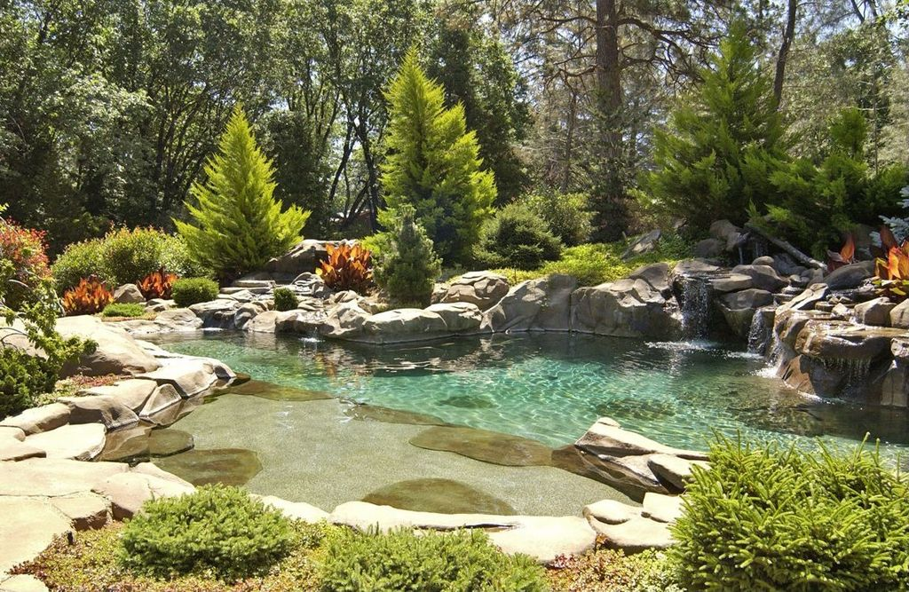 Cottage Landscape/Yard with Natural pool, Woodland setting, Naturalistic landscaping, exterior stone floors