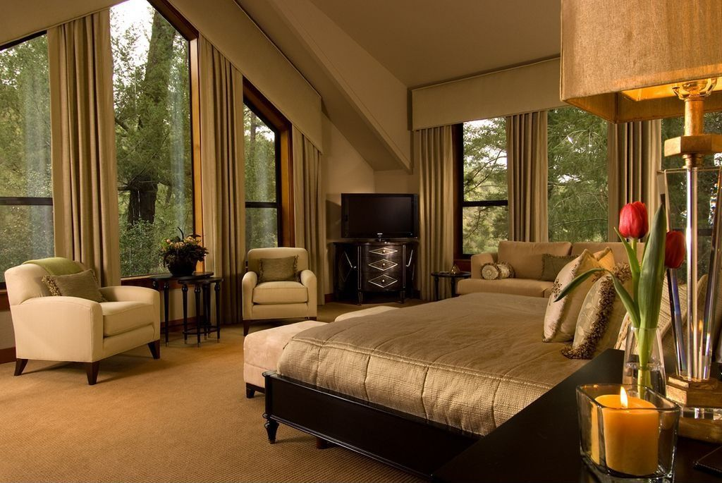 Traditional Master Bedroom with Carpet, picture window, Cathedral ceiling
