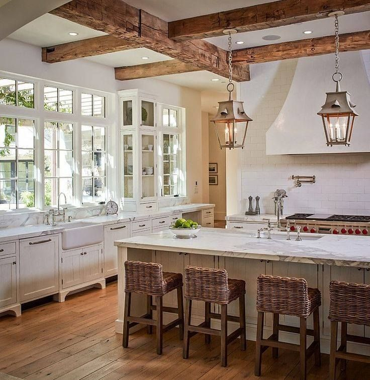Country Kitchen with partial backsplash, Exposed beam, can lights, Farmhouse sink, Subway Tile, Undermount sink, U-shaped