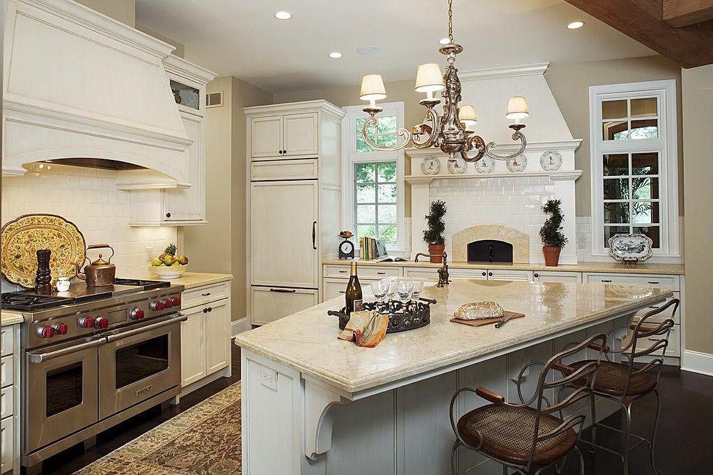Country Kitchen with Kitchen island, full backsplash, Glass panel, Casement, Standard height, Undermount sink, L-shaped