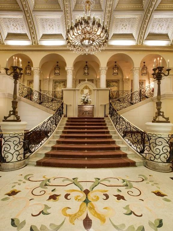 Mediterranean Staircase with Chandelier, simple marble floors, Pillars, Columns, Stair carpet runner, Deck Railing