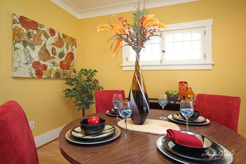 Modern Dining Room with Casement, Standard height, Hardwood floors, Crown molding