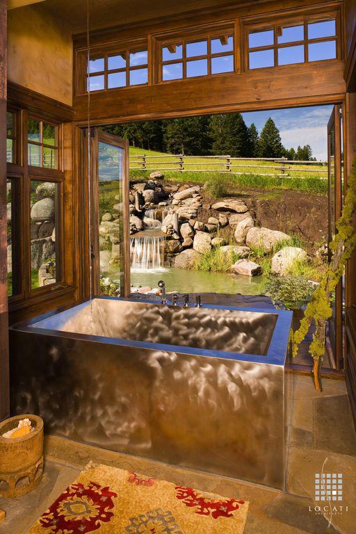 Country Master Bathroom with Paint, French doors, Metal bathtub, Casement, stone tile floors, Clerestory windows, Bathtub