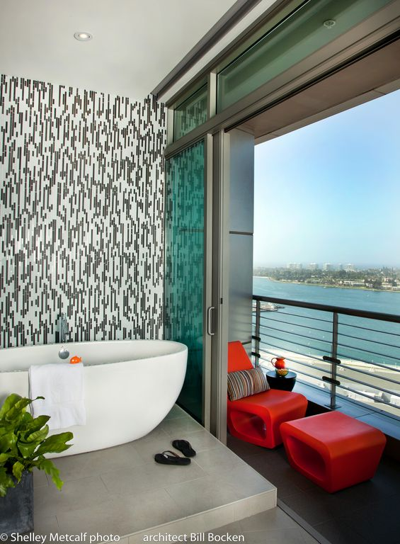 Contemporary Master Bathroom with Freestanding, sliding glass door, can lights, Standard height, Balcony, stone tile floors