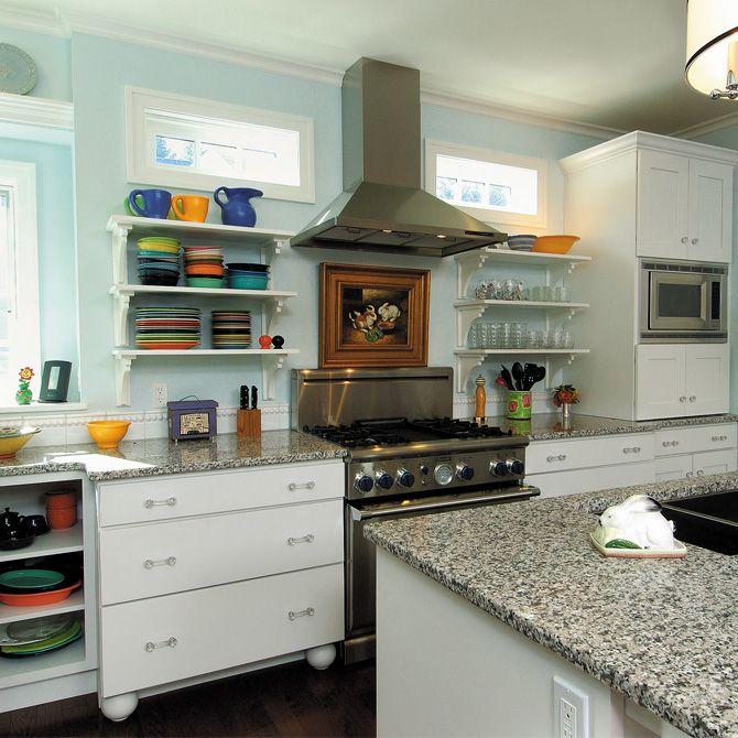 Modern Kitchen with European Cabinets, Crown molding, electric cooktop, Kitchen island, Casement, gas range, Standard height