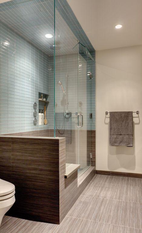 Contemporary Master Bathroom with Standard height, porcelain tile floors, Paint 1, Shower, Master bathroom, Rain shower