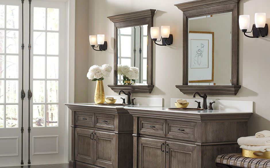Country Master Bathroom with Plymouth Double Bath Sconce With Mocha Glass Shades, Stain, Paint