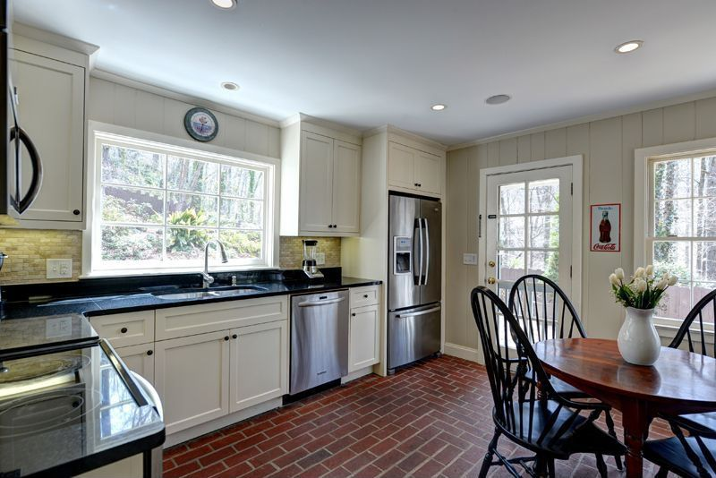 Country Kitchen with Crown molding, French doors, Breakfast nook, Flat panel cabinets, Multiple Sinks, dishwasher, can lights