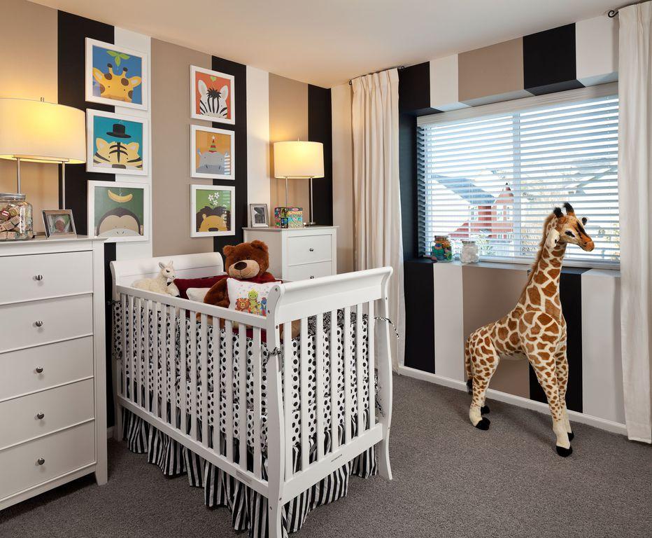 Contemporary Kids Bedroom with interior wallpaper, Carpet, Standard height, Casement, Paint 1, Paint 2, no bedroom feature