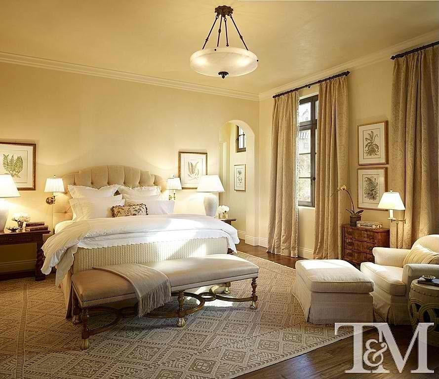 Traditional Master Bedroom with Standard height, Hardwood floors, Casement, Crown molding, flush light