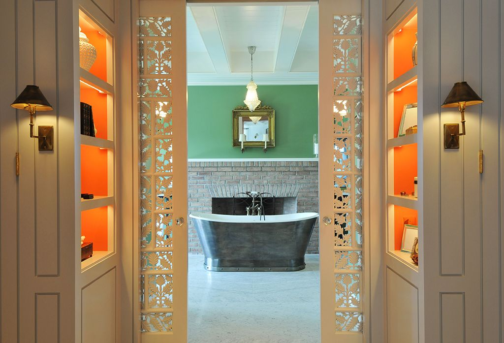 Eclectic Master Bathroom with Pendant light, Paint 2, Bathtub, Crown molding, Wall sconce, European Cabinets, Master bathroom
