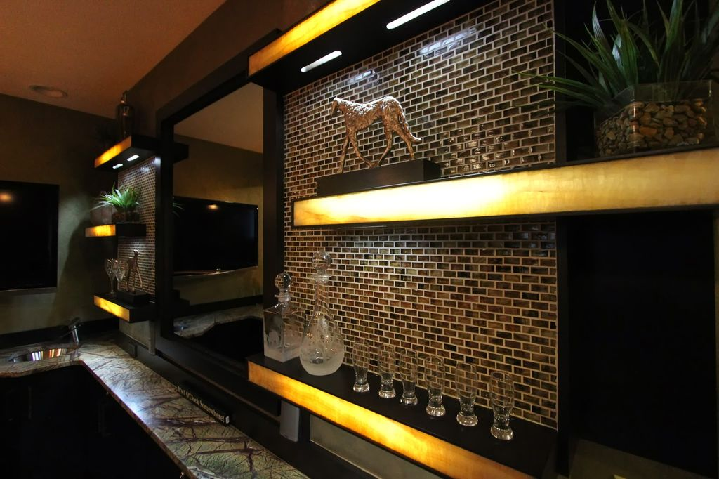 Contemporary Bar with Built-in bookshelf, Wall sconce