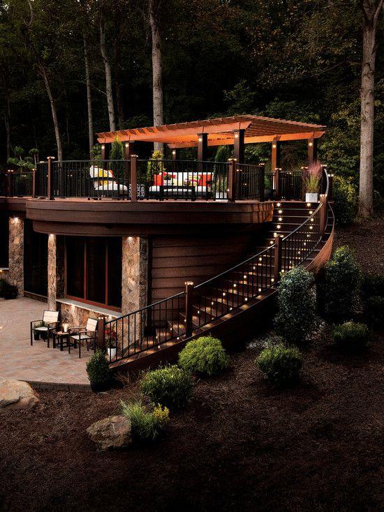 Traditional Patio with Wood pergola, Low voltage metal deck lights, Deck Railing, Trellis