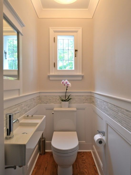 Traditional Powder Room with Wainscotting, Casement window, Bissonnet Area Boutique Logic 42 Wall Mount Bathroom Sink