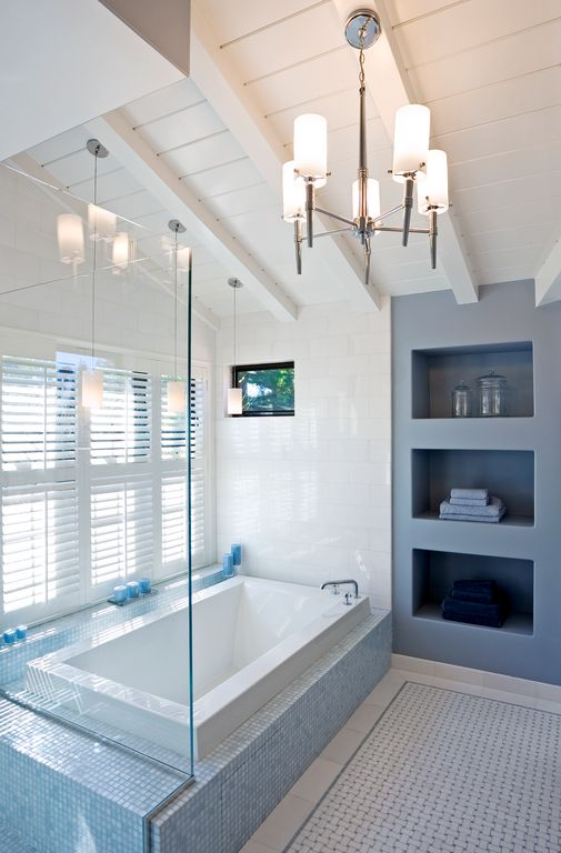 Contemporary Master Bathroom with linen and towel storage cabinet, picture window, Bathtub, High ceiling, Chandelier