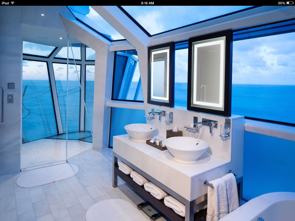 Modern Master Bathroom with Handheld showerhead, Dupont Corian Designer White, Freestanding, Vessel sink, Skylight
