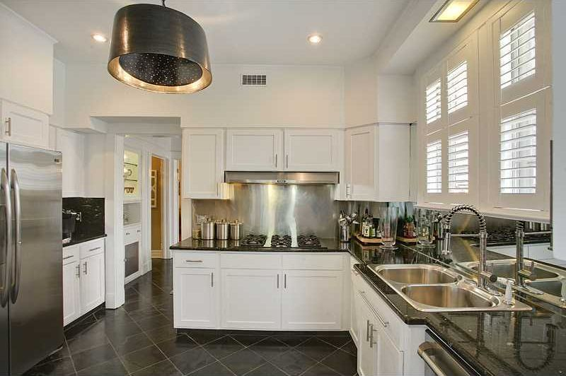 Contemporary Kitchen with dishwasher, Standard height, Stainless Steel, Framed Partial Panel, Paint 1, full backsplash