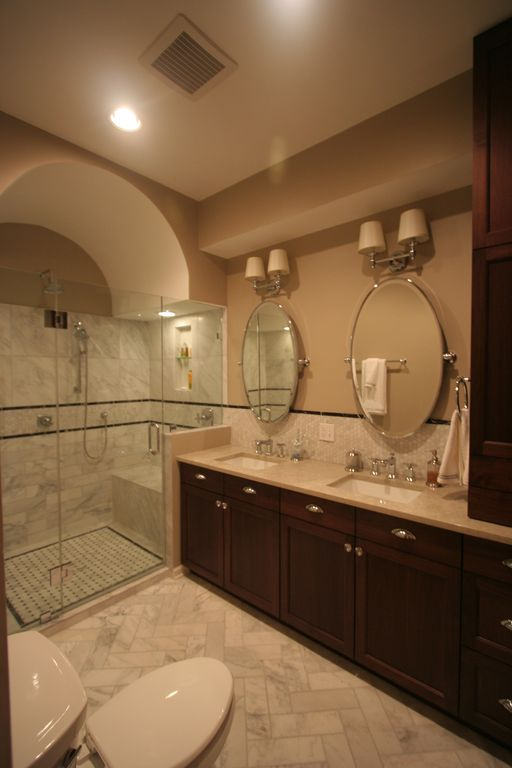 Mediterranean Master Bathroom with Arched ceiling, three quarter bath, Complex marble counters, Double sink, Ceramic Tile