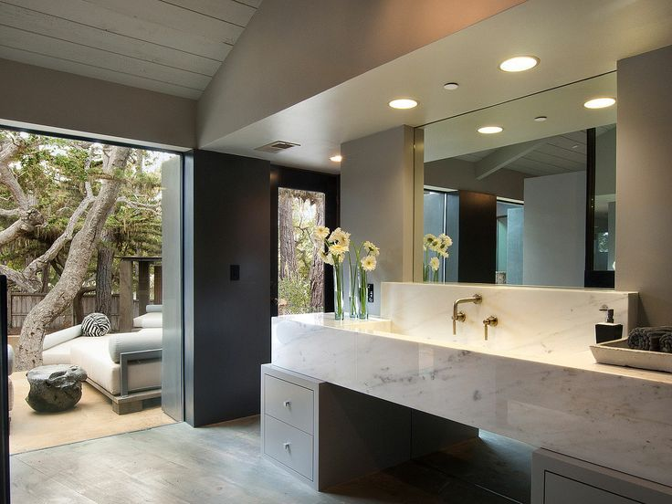 Contemporary Master Bathroom with Complex marble counters, Concrete tile , High ceiling, Master bathroom, European Cabinets