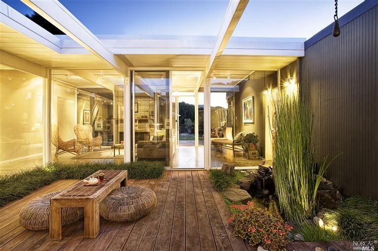 Contemporary Patio with Fence, picture window, sliding glass door