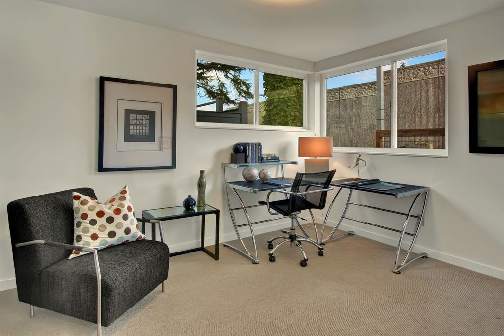 Contemporary Home Office with Z-Line Designs Boswell Glass L Desk, Carpet, Paint, Standard height, Casement