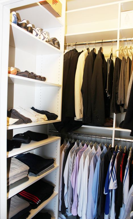 Contemporary Closet with Paint, High ceiling, Custom built-in closet