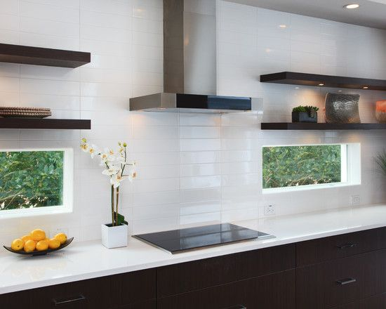Modern Kitchen with Limestone counters, AKDY Stainless Steel Wall Mount Range Hood, One-wall, Large Ceramic Tile, Flush