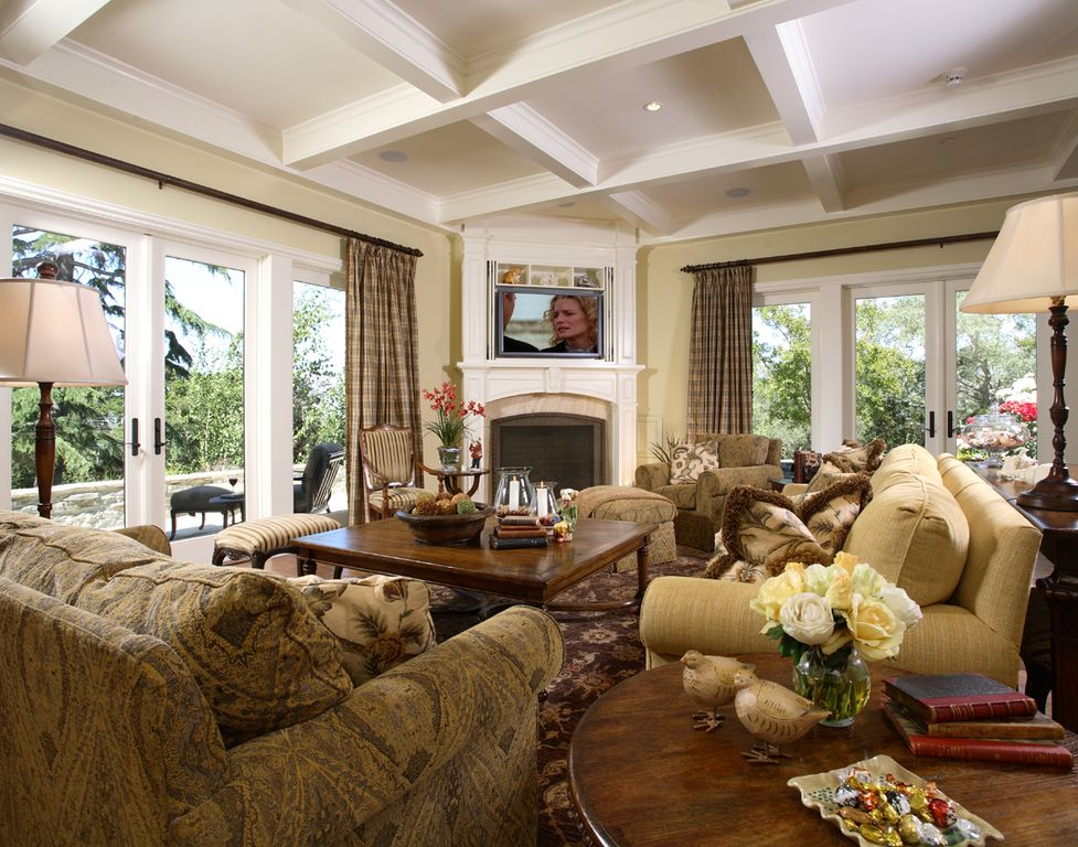 Traditional Living Room with Box ceiling, picture window, Cement fireplace, Fireplace, Standard height, Hardwood floors