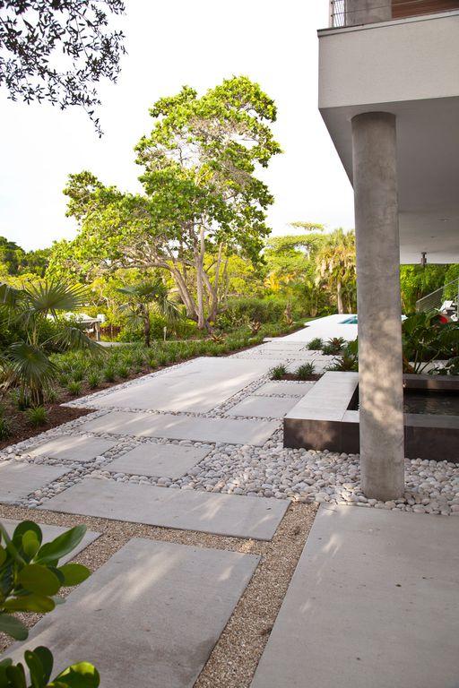 Contemporary Patio with Pathway, exterior stone floors