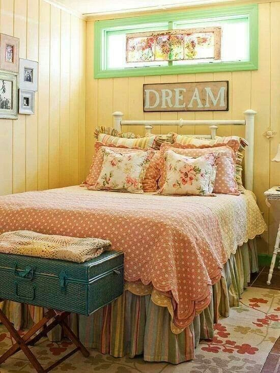 Cottage Master Bedroom with Wooden Mallet Deluxe Luggage Rack II, terracotta tile floors, Crown molding