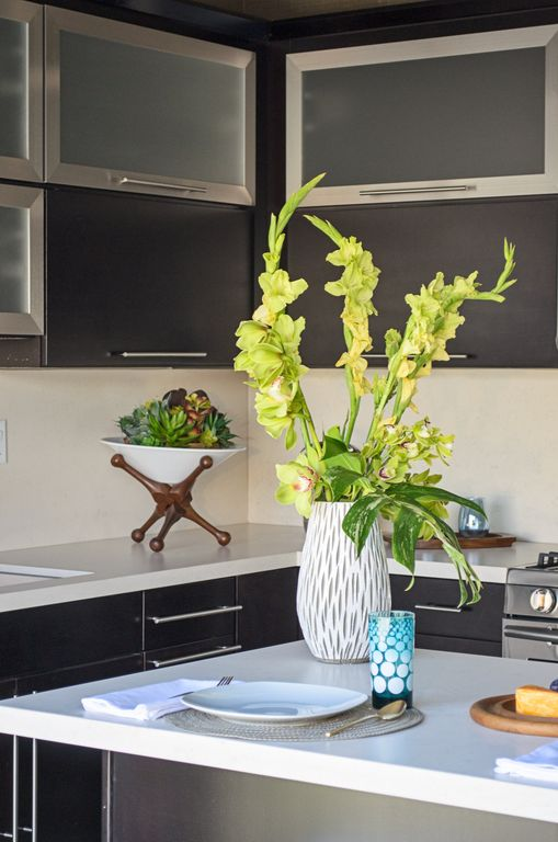 """Modern Kitchen with White quartz countertop in """"snowstorm"""", Wood pedestal indoor/outdoor jack planter in frost white, Paint 1"""